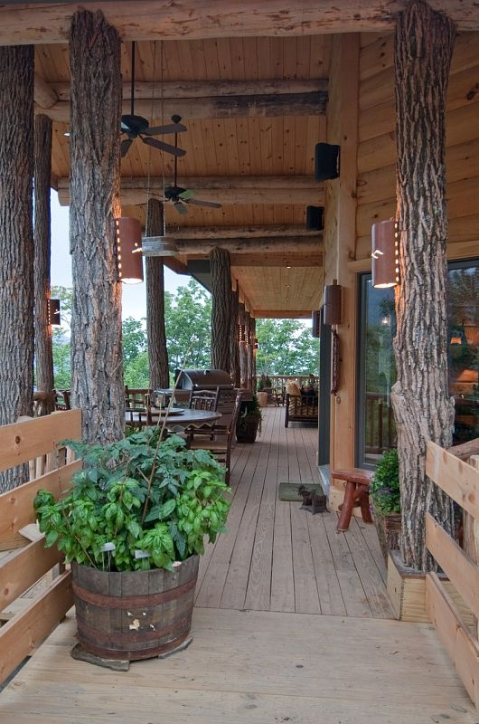 Top 25 ideas about cabin porches on pinterest rustic for Rustic porch columns