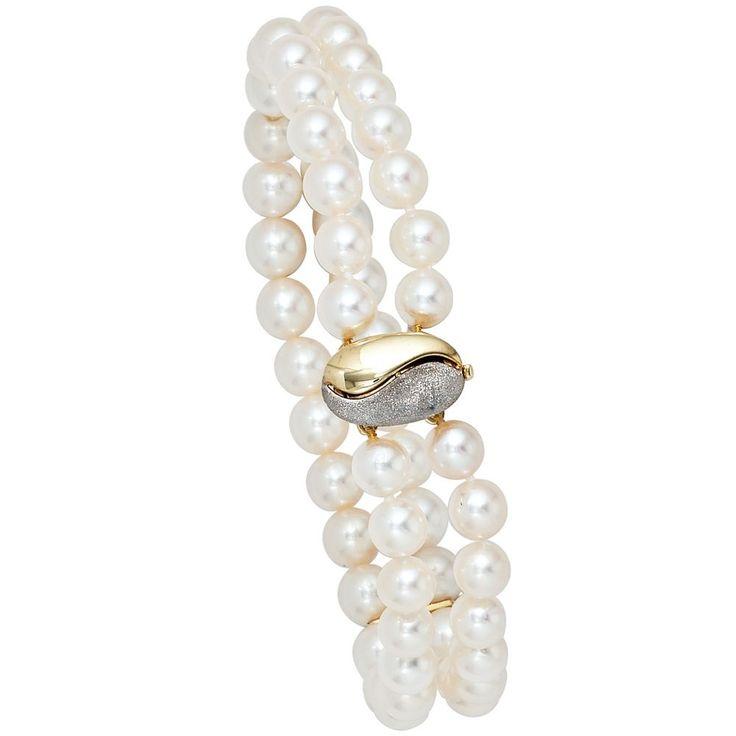 Armband 2-reihig Akoya Perlen 19,5 cm Schließe 585 Gold Gelbgold