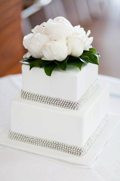 Square Wedding Cake With Fresh Flower Topper Vanilla
