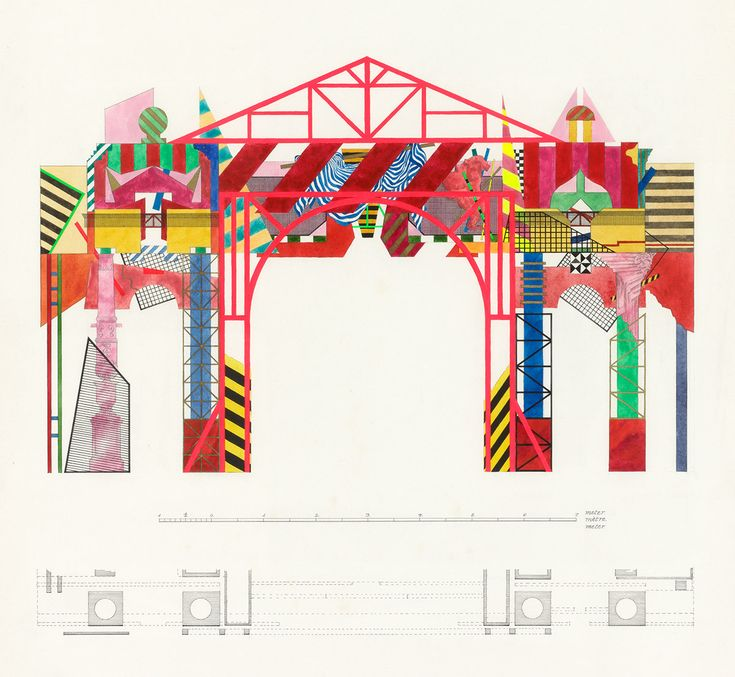 1986 Vesterport / Ernst Lohse COLORFUL COLUMNS - Architectural drawing