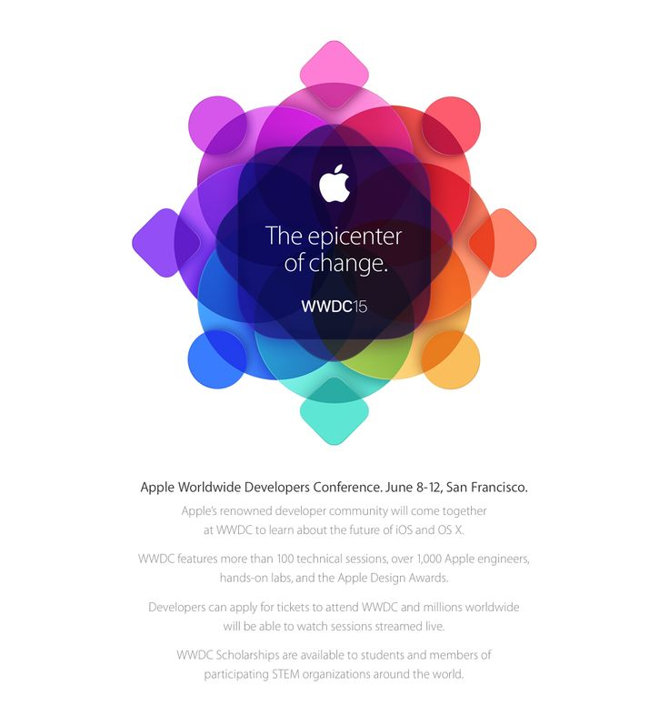 WWDC 2015. Apple Worldwide Developers Conference. June 8-12, San Francisco.