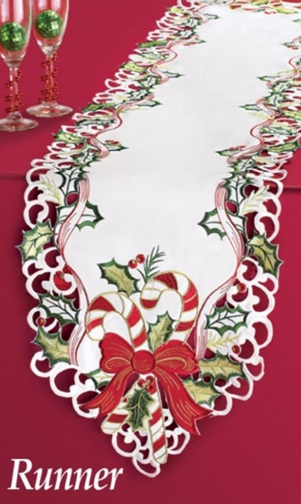 Holiday Candy Cane Holly and Ribbons Christmas Runner Table Linens 68 x 12 Inch #TableRunner #CandyCane #HollynadRibbbon #Linens #TableCloth #Christmas #Home #Kitchen #HomeDecor #KitchenDecor #68X12Inches