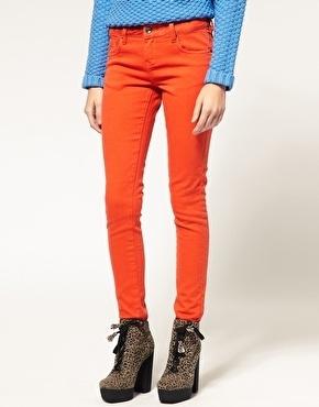 ASOS Flame Orange Skinny Jeans #4 - StyleSays