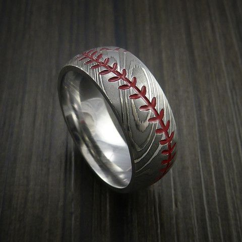 Damascus Steel Baseball Ring with Polish Finish