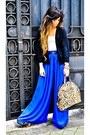 royal blue pants, leopard bag