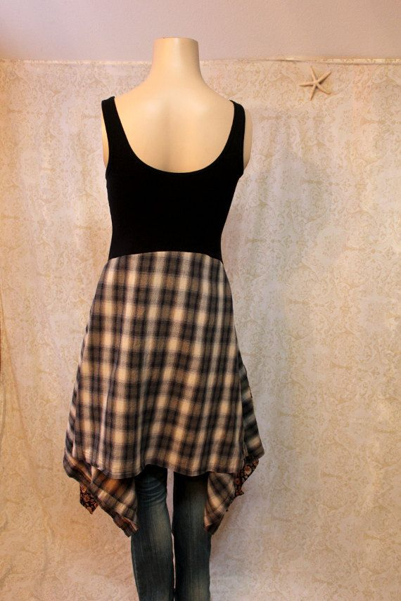 Boho Dress, Shabby Chic Romantic, Bohemian Junk Gypsy Style, Mori Girl, Lagenlook, Cowgirl Country Girl Chic, Rocker Grunge Plaid