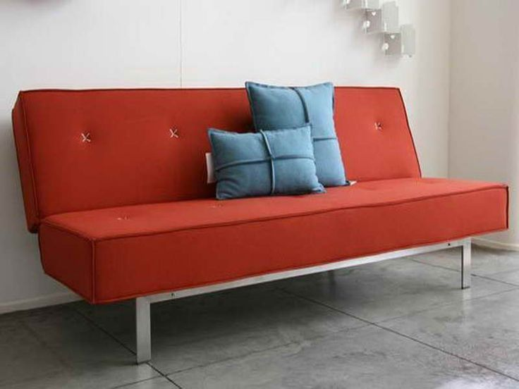 mid century modern sofa bed red