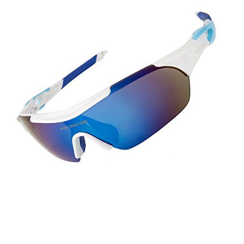 RIVBOS Polarized Sports Sunglasses Mens Womens Glasses with 5 Interchangeable lens for Cycling Running Baseball RB0836 WhiteBlue ** See this great product.