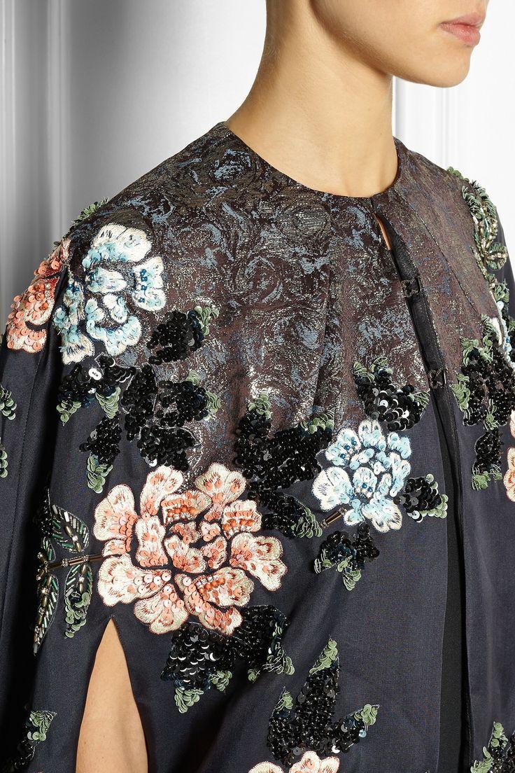 Biyan|Cana embellished embroidered silk-blend organza cape| Navy silk-blend organza | Hook fastenings along front | 60% silk, 24% acetate, 16% polyester