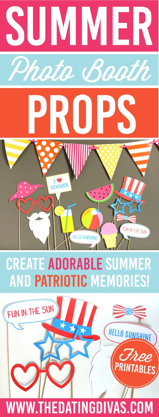 Summer and 4th of July Photo Booth Props that are FREE - the perfect idea for any neighborhood block party, birthday party or end of school celebration! www.TheDatingDivas.com