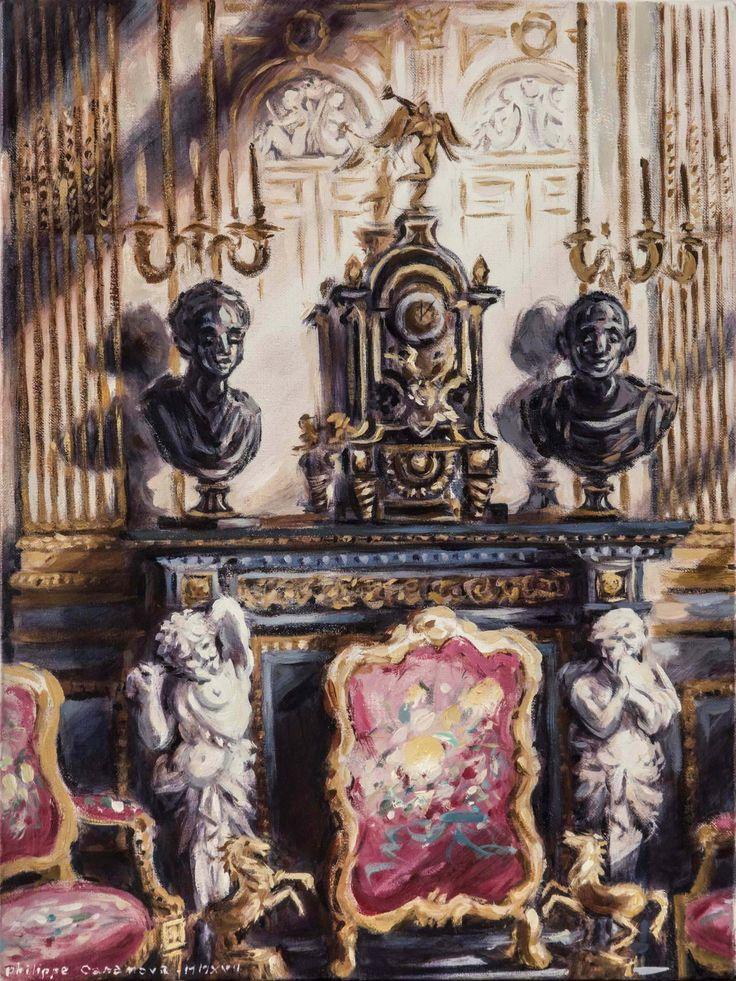 Hòtel de la Vaupalière (Paris); Foucou's fireplace; oil on canva; 40x30 cm; Philippe Casanova 2017