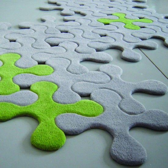Tapis modulable gris et vert