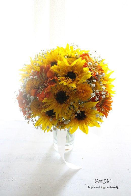 ひまわりとかすみ草のブーケ sunflower baby's breath bouquet