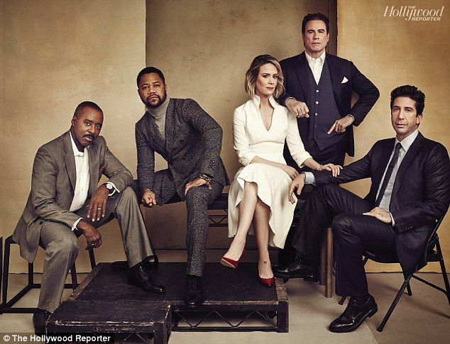 The People v. OJ Simpson is the first installment of the American Crime Story series, which stars (from left) Courtney B. Vance (Johnnie Cochran), Cuba Gooding Jr. (O.J. Simpson), Sarah Paulson (Marcia Clark), John Travolta (Robert Shapiro) and David Schwimmer (Robert Kardashian)