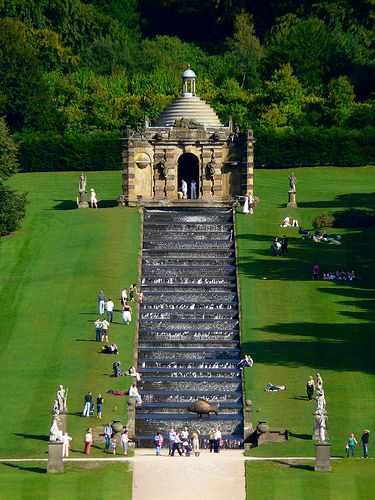 U.K. Grand Cascade, Chatsworth House, Derbyshire, England (Also known as Pemberley from Pride & Prejudice)
