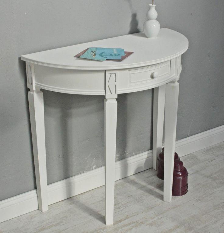 Tisch weiß halbrund Landhaus – Bild 2