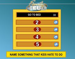 "Family Feud - To add more than one question, copy and paste the sequence of 34 possible answer slides.  When you do this, you will automatically see two new master files ""no sound"" and ""sound"".  Rename these ""Q2 no sound"" ""Q2 sound"" and so on.  Then go into both of these two master sound files and enter your answers and question. Then select the sequence of 34 slides that you just copied and pasted, right click, and Reapply master slides."
