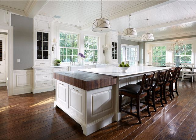 Large Spacious Kitchen Design With Glass Front White Kitchen Cabinets White Kitchen Island