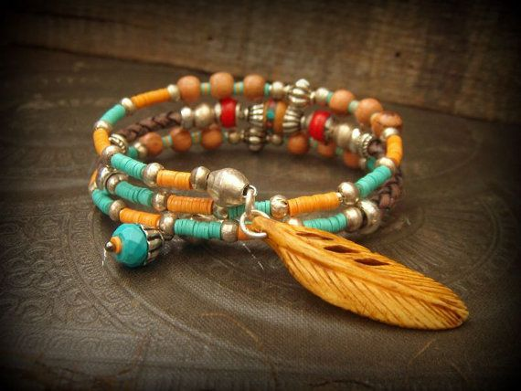 Nepalese Beaded Bolo Leather Gypsy, Tribal Prayer Bead Wrap Charm Bracelet