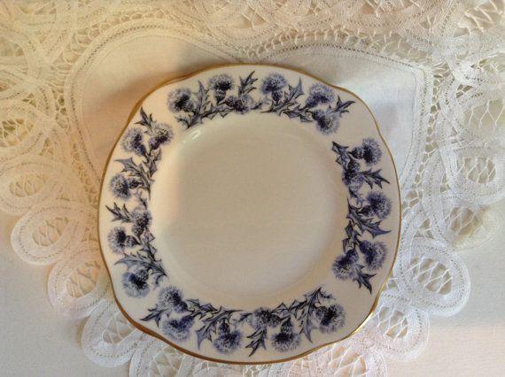 Two Vintage St. Andrews Pottery, fine bone china plates, Blue Thistles, Historic Scottish Castles Series