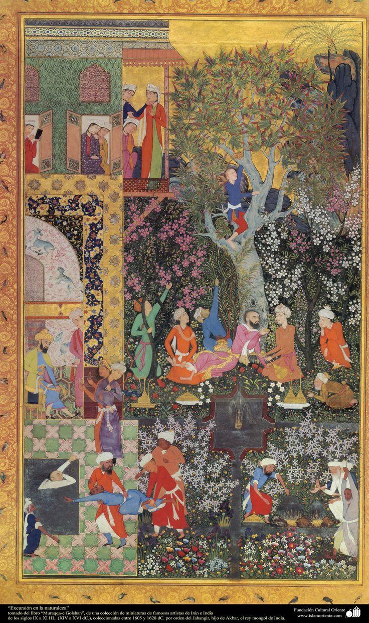 """""""Feast in Nature""""- Moraqqaʿ-e Golšan. 1628 or before r. of Jahangir, Mughal India"""