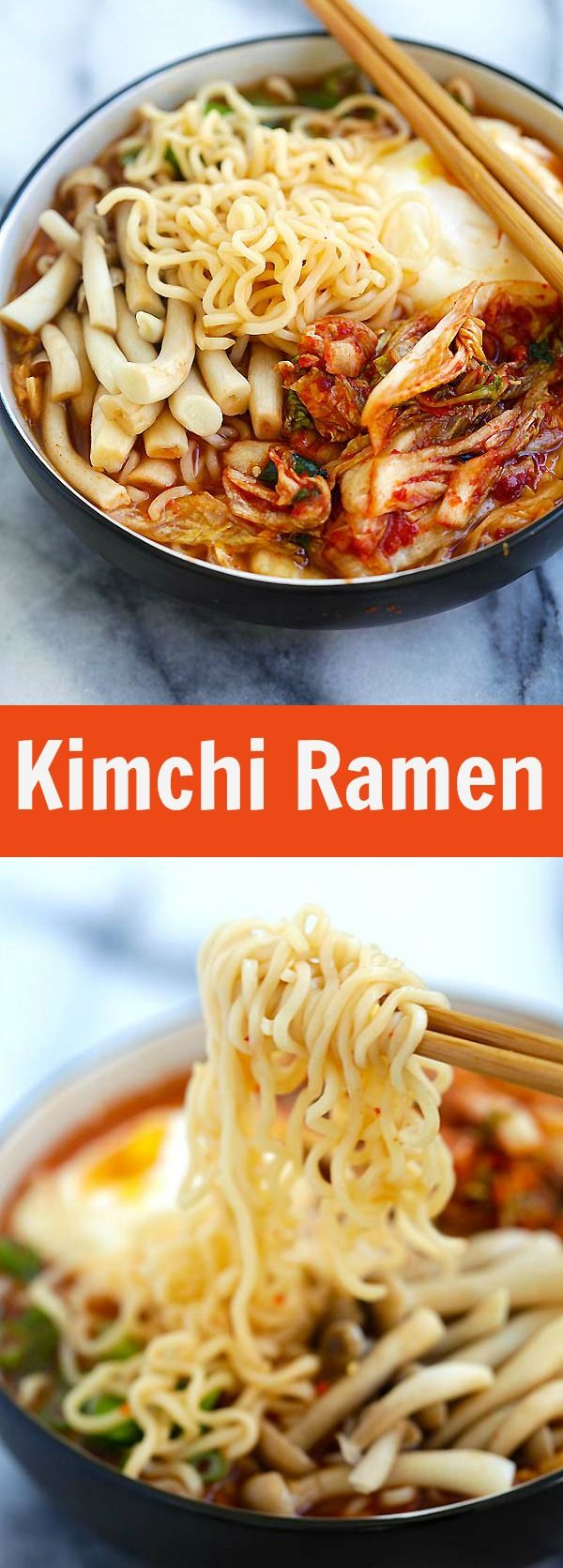 Kimchi Ramen – spicy Korean ramen with kimchi, mushroom and poached egg. Easy kimchi ramen recipe that takes only 15 mins to make | rasamalaysia.com