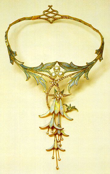 Fuchsia Necklace designed by Alphonse Mucha and made by jeweler Gorges Fouquet…