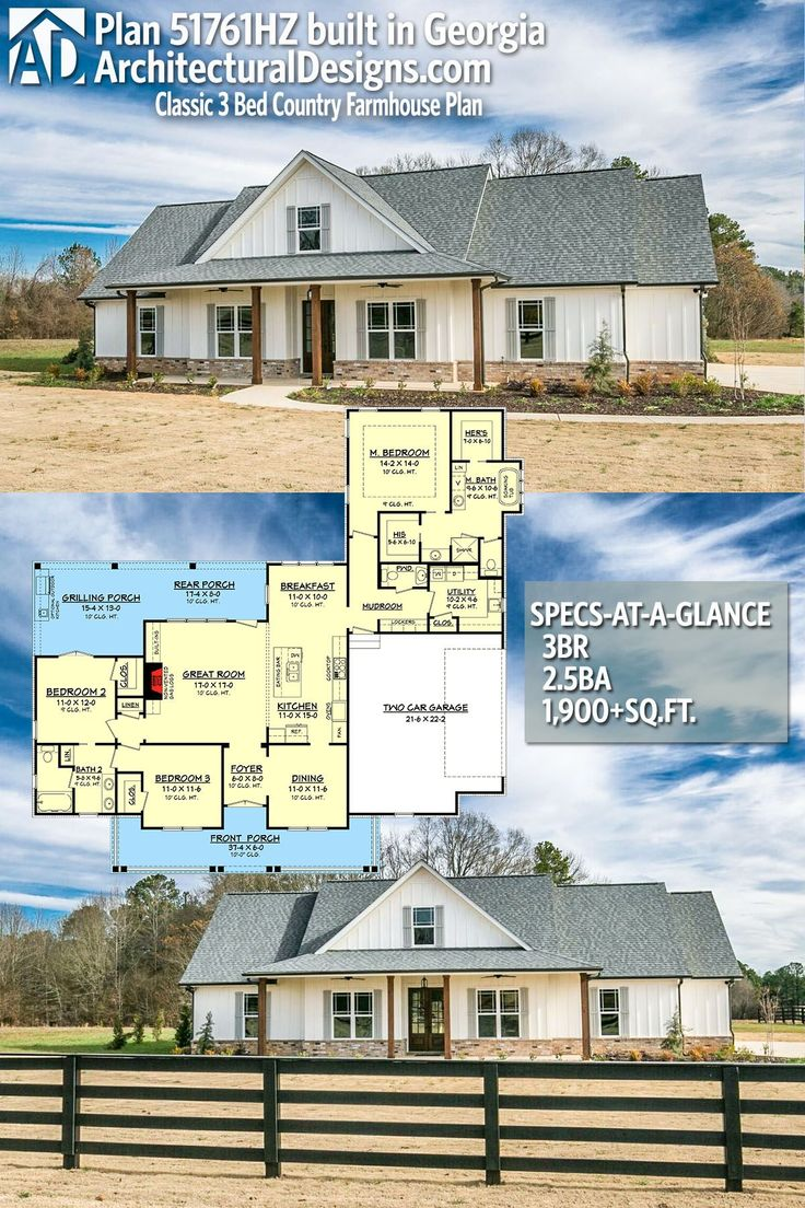Plan 51761HZ: Classic 3 Bed Country Farmhouse Plan