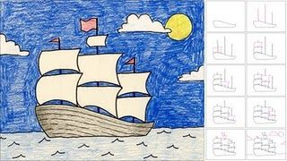 how to draw a ship with masts-- my boys definitely liked this tutorial, although my first grader struggled with the sail-making part. They were excited about it though because they are so into ships and pirates and stuff right now.