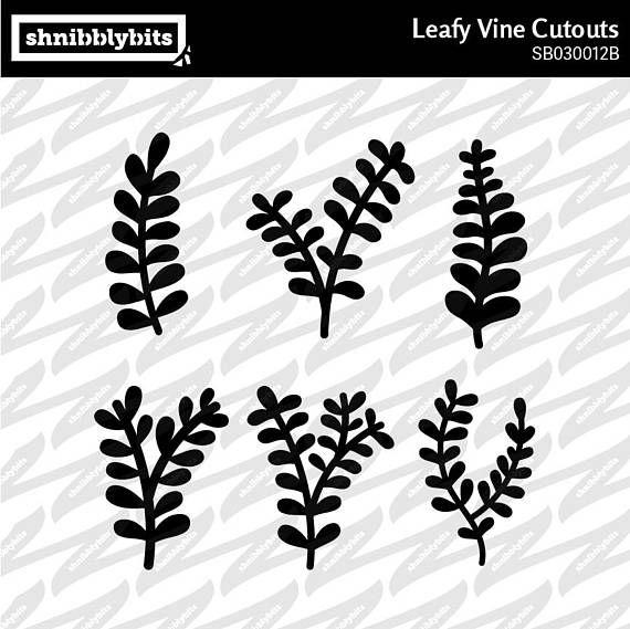 5 Leafy Vine Cutouts  SVG DXF PNG Digital Download Cut