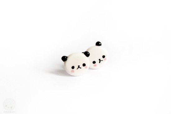 Panda Bear Miniature Stud Earrings,Polymer Clay Handmade Jewelry