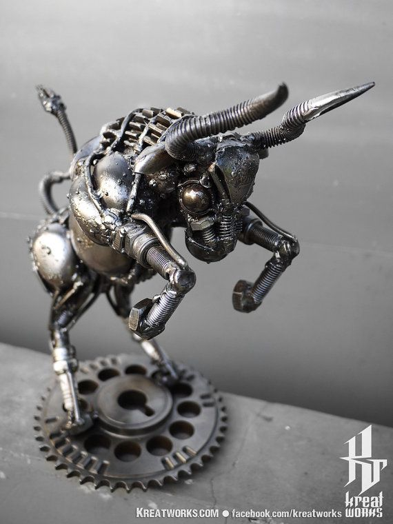 Recycled Metal Mini Aggressive Bull by Kreatworks on Etsy.