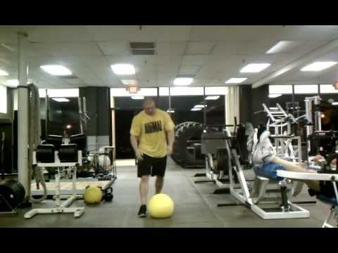 Brutal Iron Gym - 100lb D-Ball Clean & Press for 5 minutes - YouTube