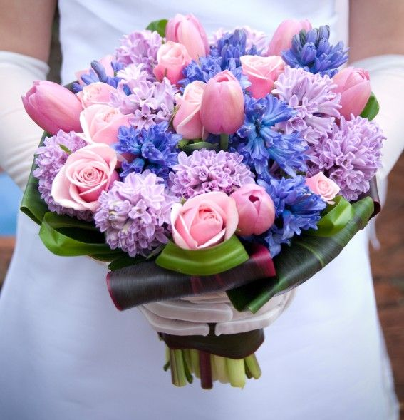 Blue Pink And Purple Wedding Bouquets