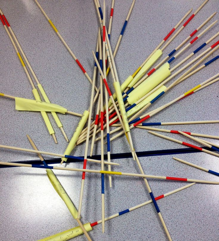 Write Qs on post it notes. Play pick up sticks and answer