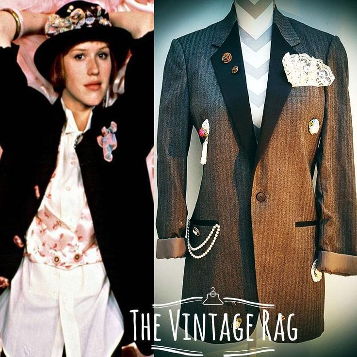 Vintage 80s Pretty in Pink Molly Ringwald 1980's Madonna stripe long tuxedo suit Boyfriend blazer mini dress S #romantic #materialgirl