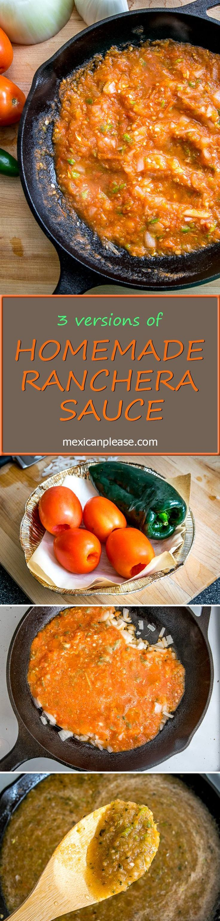 Everyone has their own sweet spot when it comes to Ranchera Sauce, what's yours?  These three variations are the ones you'll find most often on dining tables around Mexico.  http://mexicanplease.com