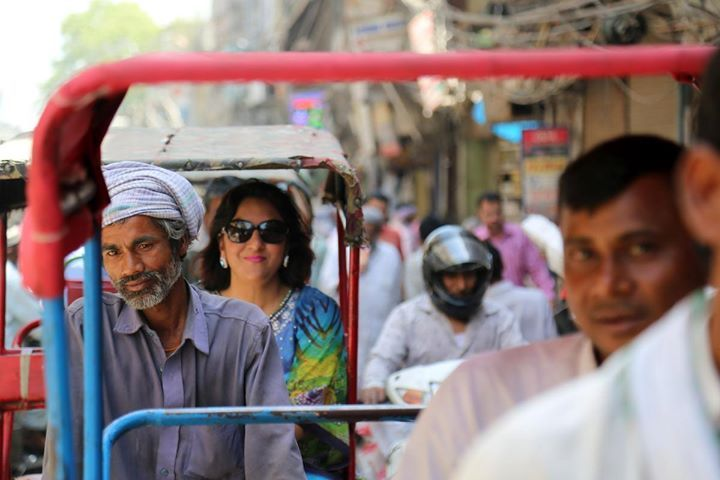 Rickshaw rides in Old Delhi during  food tour #rikshaw #streets #citywalk #foodtour