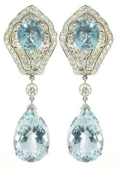 Edwardian aquamarine dangle earrings <3