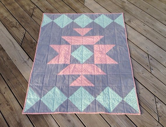 Modern Aztec Baby Quilt  Blanket  Crib  Cot by MickeysCreations