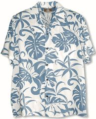 100% Rayon, RJC Brand - Kalaheo Label,  Made in Hawaii.  Delicate Tropicals Men's Hawaiian Tropical Print Kalaheo Shirt created in Blue, Green and Brown. MauiShirts search box stock number: 258-RB