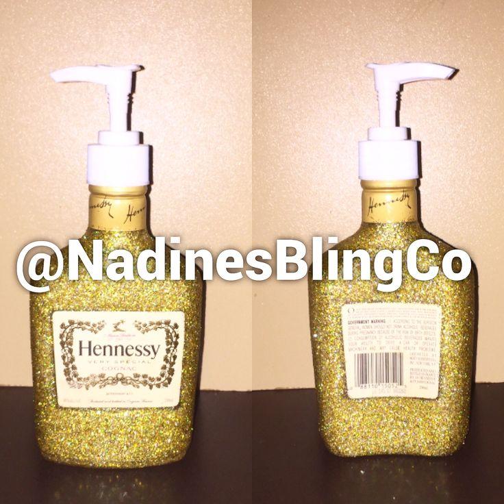 Gold glittering Hennessy bottle custom made dispenser