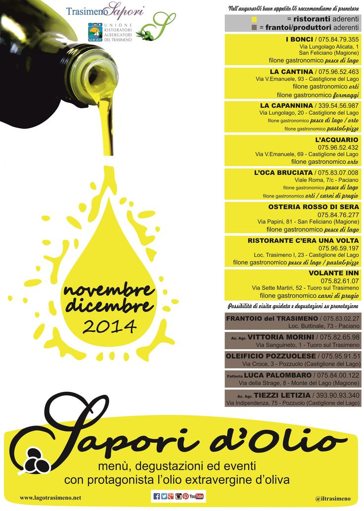 Ed ecco a Voi... #sapori d'#olio! Menù dedicati, degustazioni ed eventi con protagonista l'olio extra vergine di oliva #trasimenofood #trasimeno #saporidolio
