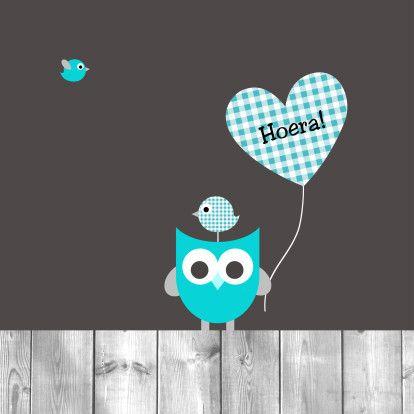 Uiltje, ballon en vogeltjes - Felicitatiekaarten - Kaartje2go Ontwerp: Boefjespost Geboortekaartjes, www.boefjespost.nl