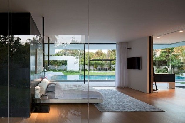 Amazing water featured modern open plan house - simple spacious bedroom -Float house, Israel by Pitsou Kedem via CONTEMPORIST