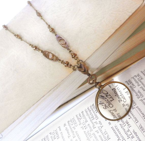 Monocle Magnifying Glass Necklace Glass by ThreeSistersFoundry