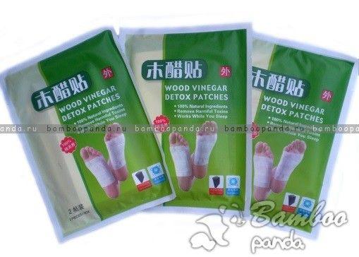Китайский пластырь с турмалином для стоп для чистки крови и лимфы Wood vinegar detox patch