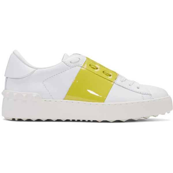 Valentino White and Yellow Open Sneakers ($575) ❤ liked on Polyvore featuring shoes, sneakers, white, white trainers, white leather sneakers, valentino shoes, white leather trainers and lace up sneakers