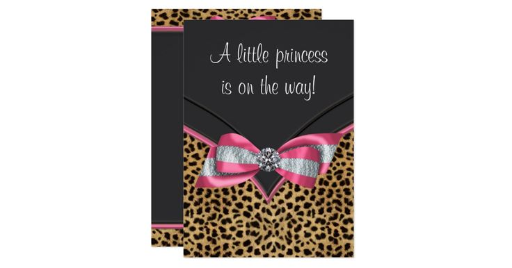 Elegant pink leopard baby shower invitation. This adorable pink leopard baby shower invitation has a beautiful diamond centered silver and pink bow and is easily customized for your event by adding your event details, font style, font size & color, and wording.