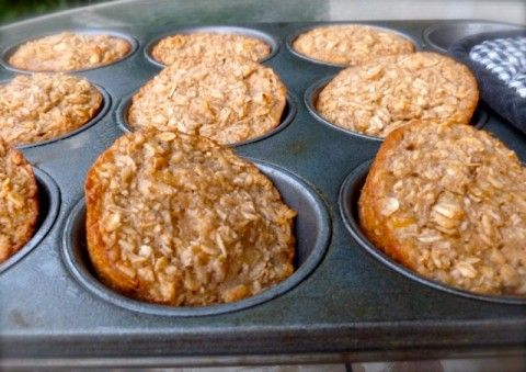 """Healthy Individual """"Banana Bread"""" Baked Oatmeal Muffin Cups #weightwatchers #smartpoints: 4 http://simple-nourished-living.com/2012/05/individual-baked-banana-bread-oatmeal-muffin-cups/"""